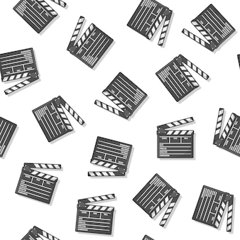 Movie clapper board seamless pattern on a white background. movie production icon vector illustration