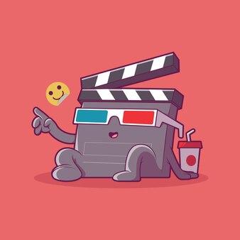 Фильм клаппер характер векторные иллюстрации развлечения фильмы воображение концепция дизайна