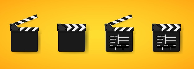 Movie clapper icons or cinematography and clapboard