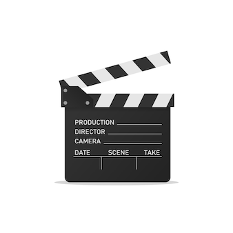 Movie clapper isolated on white background. open clapperboard. vector eps 10