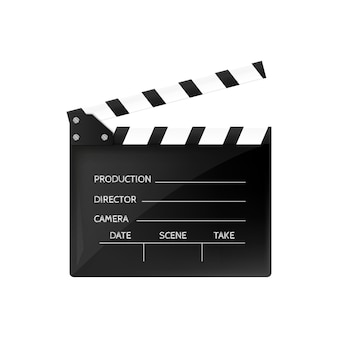 Movie clapper isolated on white black open clapperboard.