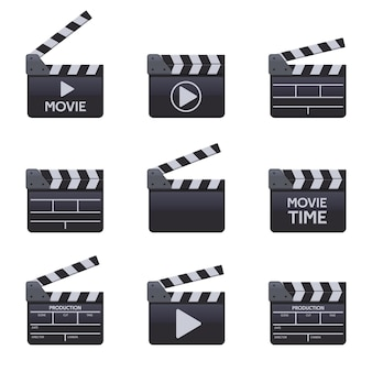 映画のカチンコ。タイトル、映画製作のベクトル記号とシネマ木製クラッパー