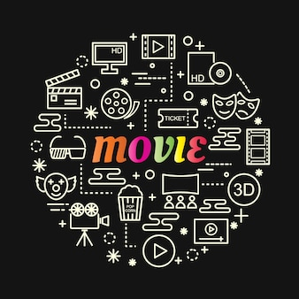 Movie colorful gradient with line icons set