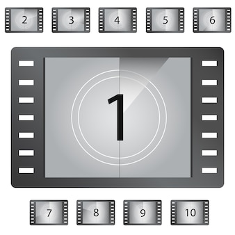 Movie countdown numbers vector
