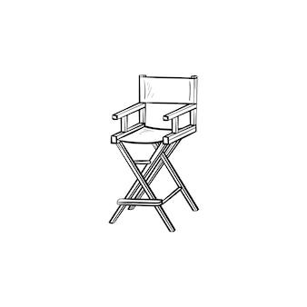 Кинорежиссер стул рисованной наброски каракули значок. кресло кинорежиссера векторные иллюстрации эскиз для печати, интернета, мобильных устройств и инфографики, изолированные на белом фоне.