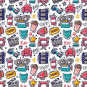 Movie doodle element seamless pattern