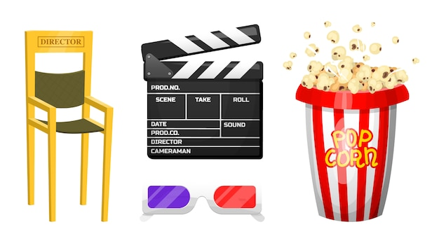 Movie elements. vintage cinema, entertainment and recreation with popcorn. retro clapperboard. filmmaking and video cassette, chair, film stock for hollywood studio. Premium Vector