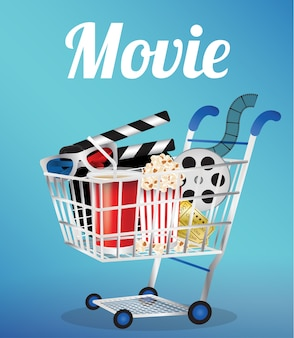 Movie film 3d glasses and movie ticket in a shopping cart