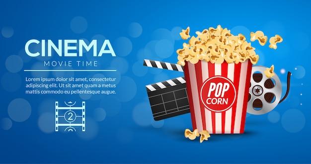 Шаблон оформления баннера фильма. концепция кинотеатра с попкорном, диафильмом и хлопушкой для фильмов.