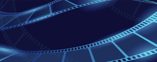Movie film concept banner, cartoon style