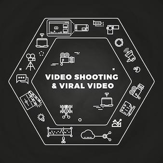 영화 영화 제작 라인 아트 아이콘 개념