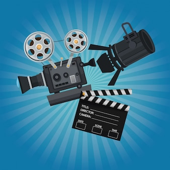 Movie film projector clapperboard and spotlights