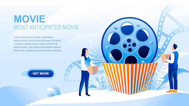 Movie flat landing page with header, banner  template.