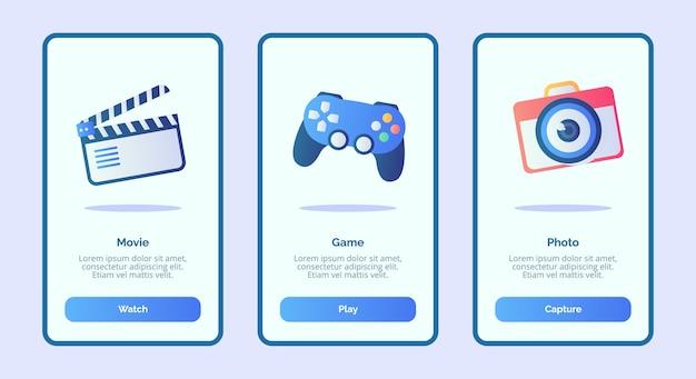 Пользовательский интерфейс страницы баннера шаблона movie game photo для мобильных приложений