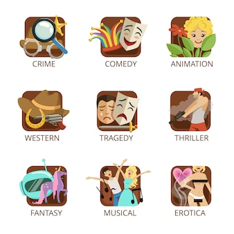 Movie genres set, crime, comedy, animation, western, tragedy, thriller, fantasy, musical erotica colorful  illustrations on a white background