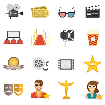Movie icons flat