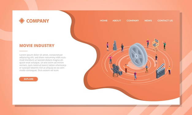 Movie industry concept for website template or landing homepage with isometric style vector