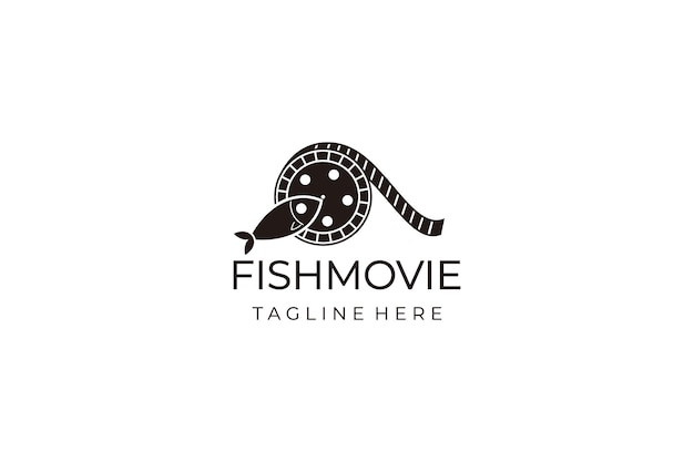 Movie logo vector template isolated on a white background. fish and film cinema logo creative concept