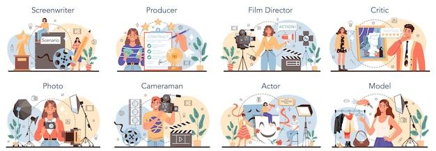Набор занятий кинопроизводством и шоу-бизнесом. сценарист, продюсер, кинорежиссер, актер, оператор, критик, фотограф и модель. сборник современных профессий. плоские векторные иллюстрации