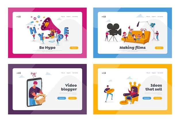 映画制作とビデオブログのランディングページテンプレートセット