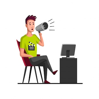 Movie making concept with director. flat cartoon illustration. tv person at work. director in work