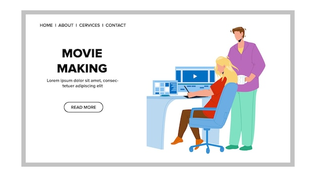 Movie making editor team couple on computer vector. young man and woman project movie making together. characters videographers teamwork and multimedia occupation web flat cartoon illustration