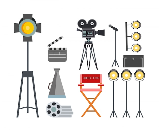 Movie making equipment collection illustration