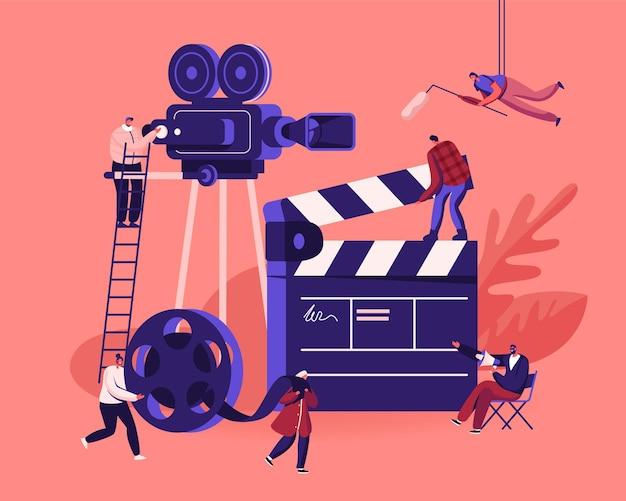 Концепция процесса создания фильма. оператор, использующий камеру и персонал с профессиональным оборудованием, записывает фильм с актерами. мультфильм плоский иллюстрация