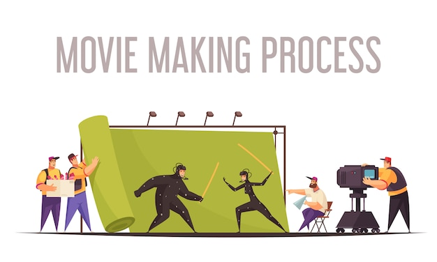 Movie making process flat cartoon composition with film director and camera operator shooting fighting actors