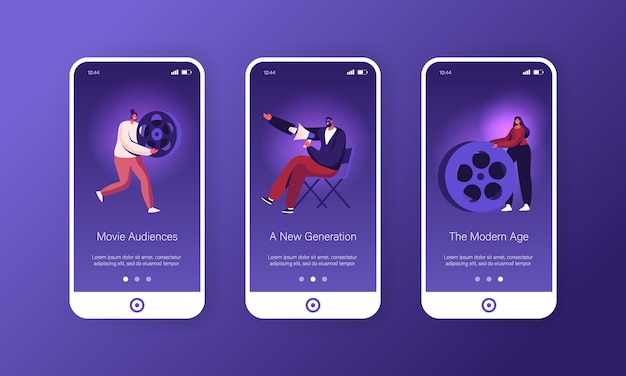 Movie making process mobile app page onboard screen set.