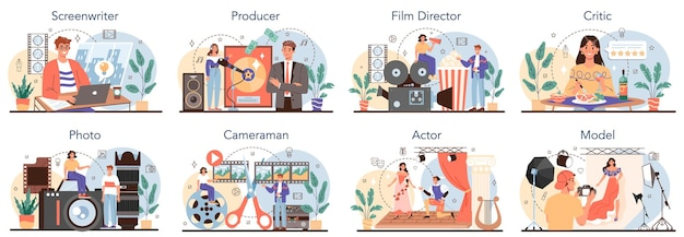 Movie making and showbusiness occupation set. screenwriter, producer, film director, actor, cameraman, critic, photographer and model. collection of modern professions. flat vector illustration