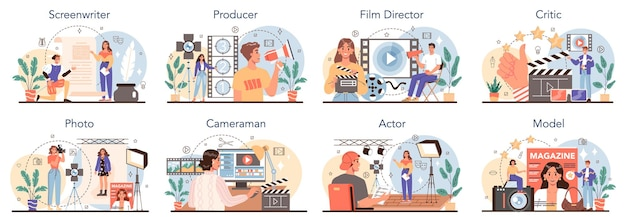 Movie making and showbusiness occupation set. screenwriter, producer