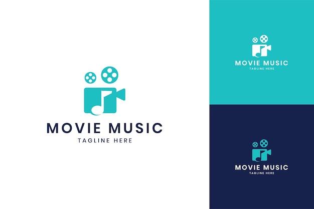 Movie music negative space logo design