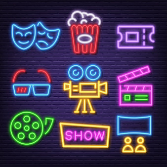 Movie neon icons