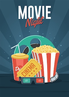 Movie night. can be used for flyer, poster, banner, ad, and website background