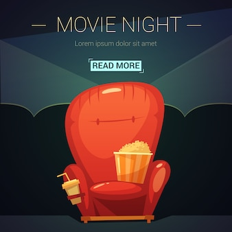 Movie night cartoon illustration