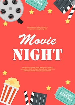Movie night cinema flat poster