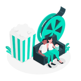 Movie night concept illustration