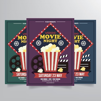 Movie night flyer template vector