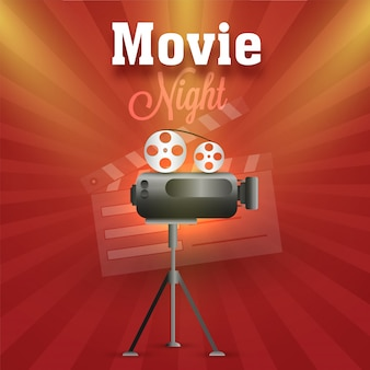 Movie night, poster, banner or flyer design.