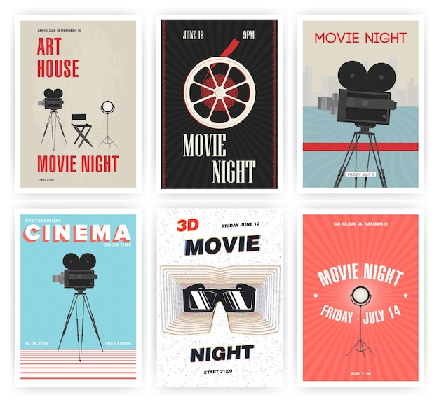 映画の夜のポスターセット。シネマイベントのさまざまな広告プラカード。カラフルなベクトルイラスト。