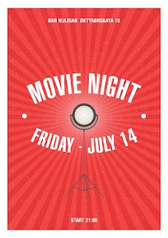 Movie night poster with red strips