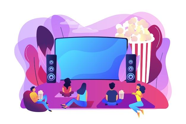 친구들과 영화의 밤. 사운드 시스템으로 큰 화면에서 영화를 감상합니다. 야외 영화관, 야외 영화관, 뒤뜰 극장 장비 개념. 밝고 활기찬 보라색 고립 된 그림