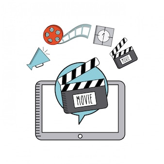 Movie online flat line icons