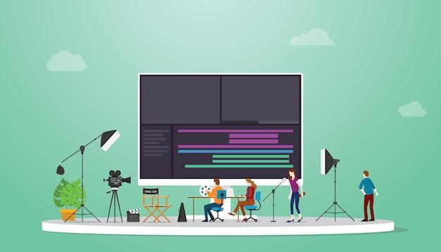 현대적인 평면 스타일로 비디오를 편집 할 수있는 몇 가지 도구가있는 팀 비디오 편집기로 영화 또는 비디오 제작.