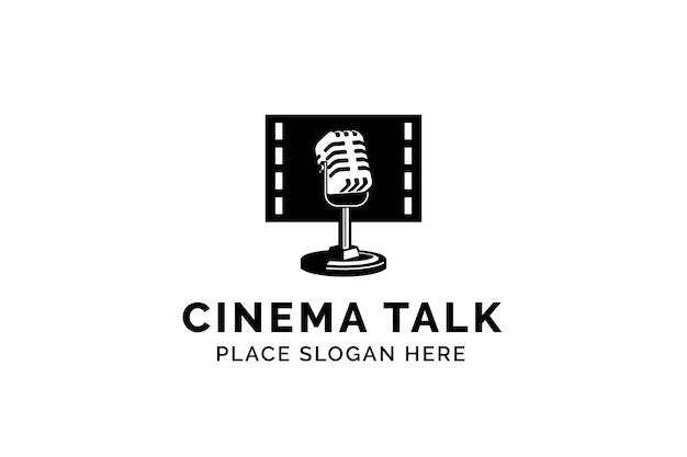 映画ポッドキャストベクトルロゴテンプレート。マイクマイクとフィルムリールのロゴのイラスト。