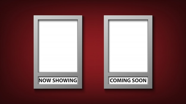Movie poster frame template with now showing and coming soon
