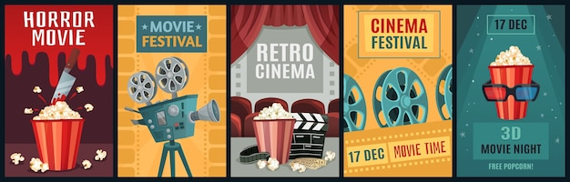Movie poster. horror film, cinema camera and retro movies night posters template.