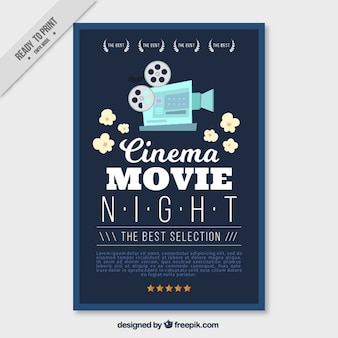 Movie poster with vintage camera and popcorn