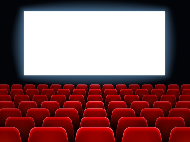 Movie premiere event at cine theatre. cinema white blank screen at dark movie hall interior with empty red seats vector background